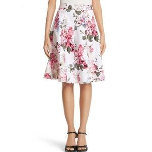 WHBM floral pleated a-line skirt